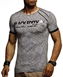 LEIF NELSON Herren T-Shirt Rundhals Ausschnit Sweatshirt Longsleeve Basic Shirt Hoodie Slim Fit; M, Schwarz