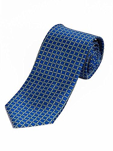 Lorenzo Guerni PREMIUM - italienisches Design - 100% Seide Elegante Krawatten im Karodesign - blau