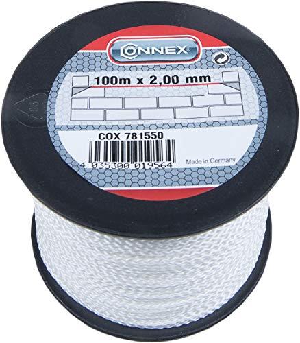 Connex Maurerschnur weiß - 100 m Länge - Ø 2,0 mm - Polypropylen geflochten - Knotenfest - Reißfest & Belastbar - Auf Spule / Richtschnur / Bauschnur / Lotschnur / Pflasterschnur / COX781550