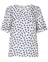 P.A.R.O.S.H. Femme STARRYD310259Z802 Blanc/Bleu Soie T-Shirt