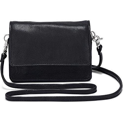 Cox Erwachsene (Unisex) Damen Mini-Bag aus Leder, Umhängetasche in Schwarz mit abnehmbarem Schulter-Riemen (15 x 11 x 4 cm) Schwarz 1