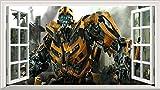 Wandtattoo Transformers Bumblebee V2, magisches Fenster, selbstklebendes Poster, 1000mm breit x 600mm hoch, Größe L