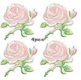 zeng 4 Stück Stoff Aufkleber Abzeichen für Kleidung Kleidungsstück Cheongsam Applikationen DIY Zubehör Rose Blume Applique Stickerei Eisen auf Patches