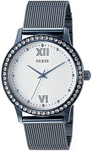 GUESS Women's U0766L4 Dressy Blue Watch with White Dial , Crystal-Accented Bezel and Mesh G-Link Band