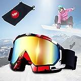JTENG Occhiali da sci Snowboard Maschera da sci Anti Nebbia Protezione Occhiali Protezione UV Goggles Occhiali anti-vento anti-Luce solare Anti-Sand per Moto Scooter (nero)