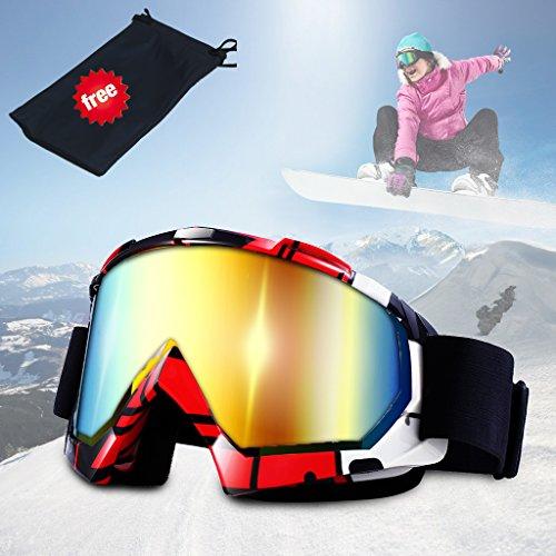 Skibrille, JTENG Ski Snowboard Brille UV-Schutz Skibrille Brillenträger Schneebrille Snowboardbrille Verspiegelt Motorradbrillen Für Damen Herren Mädchen Jungen (Blau(mit Tasche))