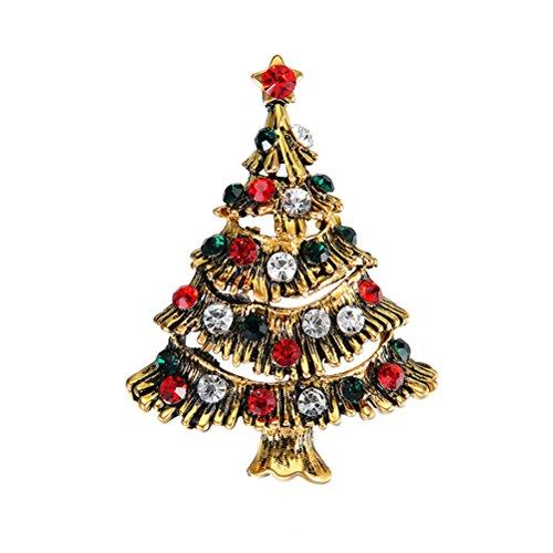 Tinksky Weihnachtsbaum Brosche Kristall Weihnachten Brosche Für Frauen Mädchen Weihnachtsbaum Schmuck Geschenk