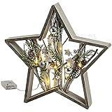matches21 Weihnachtsdeko Stern Weihnachtlicher Stern aus Holz und Ästen & Deko mit LED Beleuchtung 1 Stk. 39x6x39 cm