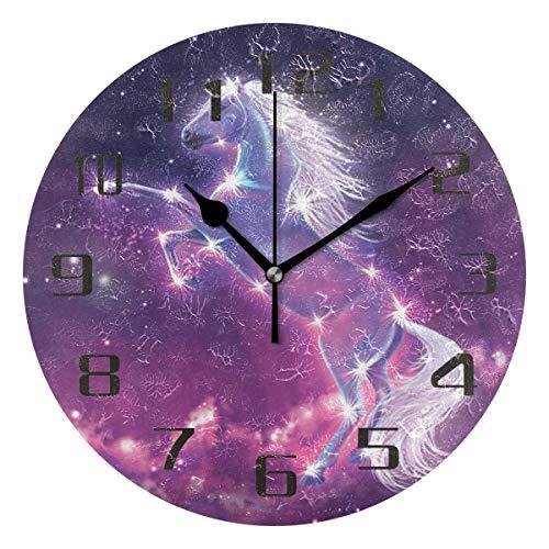 ALARGE Wanduhr Einhorn Galaxie Glitzer Fantasy Silent Non Ticking Digital Uhr Acryl Dekoration Küche Home Office Klassenzimmer Kunst