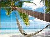 Graz Design 761006_20x25_120 Fliesen-aufkleber/dekor/Folie/bild für Bad Küche, Paradies auf Erde Palme mit Meerblick, 20 x 25 cm, Anzahl Fliesen 9 breit und 5 hoch