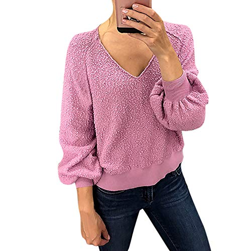 OYOSHE Damen Bluse Mode Frauen Velvet Langarm Laterne Hülse Solid V-Neck Pullover Top(Rosa,40/L)