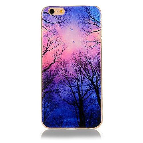 Custodia Cover per iPhone 6/6s, Cover Silicone Morbido Trasparente Protective Case TPU Gel Ultra Sottile Cassa Protettiva Design per iPhone 6/6s - Cielo Colorato Cielo colorato