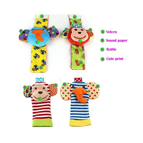 SKK Baby 4 Animal Wrist Rattle and Foot Finder Socks Set Development Toys Gift For Infant Boy Girl 2