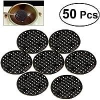OUNONA 50 piezas Bonsai Pot Mesh Drainage Screens Pad Prevenir la pérdida de suelo Junta transpirable (Negro)