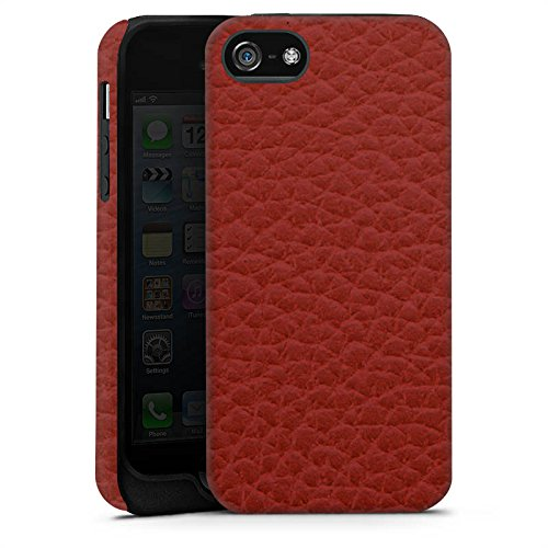 Apple iPhone X Silikon Hülle Case Schutzhülle Leder Look Rot Marsala Leather Tough Case matt