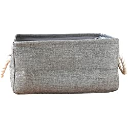Starsglowing Wäschekorb Aufbewahrungskorb mit Griff Schrank Organizer Aufbewahrungsbox für Kleidung Handtücher Bettwäsche (Medium, Grau)
