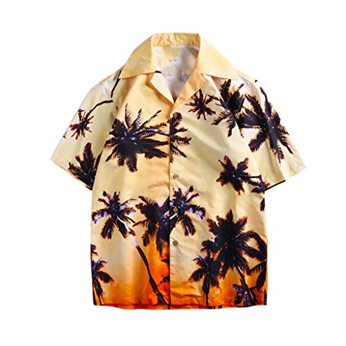 POIUDE Herren Strand Hawaiihemd Beach Insel Hirsch Party Button Down Kragen 90's surf Aloha Freizeit Hemden(Khaki, L)