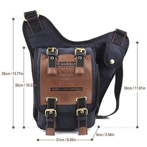 S-ZONE Herren Utility Leinwand Leder Schulter Militär Patchwork Tasche Versipack Umhängetasche Handtasche Brusttasche B-Schwarz