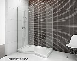Curved Walk-In Shower Enclosure 1400 x 900mm RH