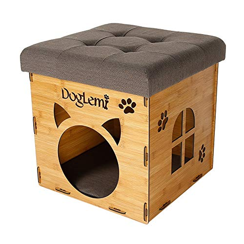 Sunny lingt casa in legno per cani/gatti sgabello in legno marrone villa rimovibile e lavabile per gatti domestici casa per gatti lettiera per gatti