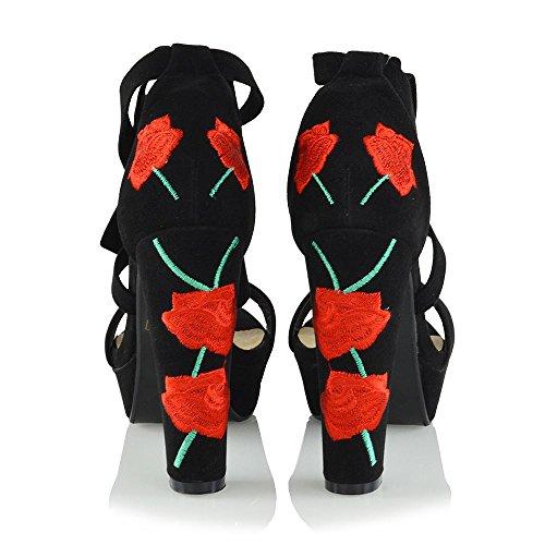 ESSEX GLAM Donna Finto Scamosciato Ricamato Sandalo con Allacciatura Intorno alla Caviglia Tacco a Blocco Alto Peep Toe Scarpa Nero Finto Scamosciato