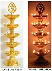 IVAAN® Premium 5 Layer New Electric Gold LED Bulb Lights Diya|Deep|Deepak for Pooja|Puja|Mandir| Diwali Festival Decoration