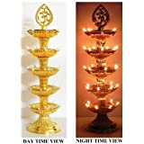 VARSHINE Premium 5 Layer New Electric Gold LED Bulb Lights Diya/Deep/Deepak For Pooja/Puja/Mandir Diwali Festival Decoration S-04