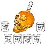 Totenkopf Set - Totenkopf Karaffe und 6 Totenkopf-Gläser | Glas Schädel [350 ml] Skull Head Schnapsgläser [25 ml]