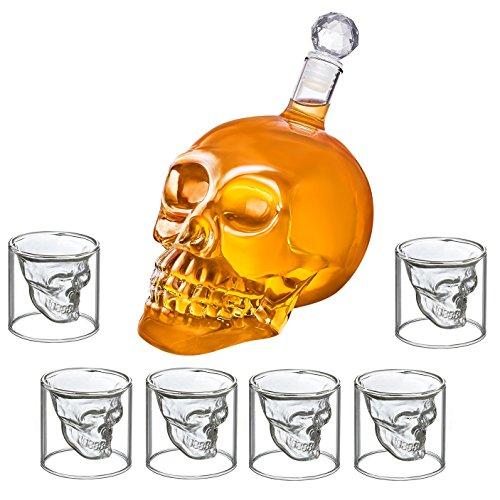 Schnapsglas Totenkopf Set - 6er Shot-Glas Skull Head Stamper + Karaffe im Totenkopfdesign (6 Schnapsgläser 75ml + 1000ml Karaffe)