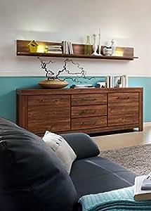 sideboard und wandboard in akazie dunkel nachbildung 3 schubk sten 2 holzt ren ma e b h t ca. Black Bedroom Furniture Sets. Home Design Ideas