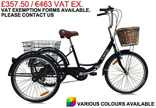 """jorvik 24""""City, Triciclo, adulti Triciclo pieghevole in stile olandese, nuovo modello 2016-vari colori disponibili, Uomo donna, Black Dutch"""