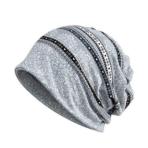 (BHYDRY Damen Wrap Indien Muslim Stretch Turban Streifen Drucken Hut Kopftuch)