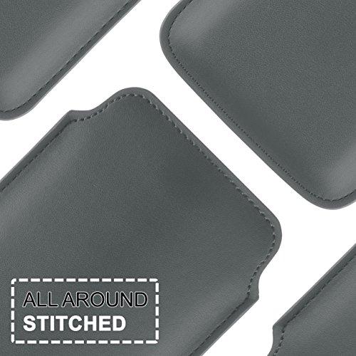 iPhone 5C Hülle Türkis Sleeve [OneFlow Slide Cover] Ultra-Slim Schutzhülle Dünn Handyhülle für iPhone 5C Case Full Body Handytasche Kunst-Leder Tasche ANTHRACITE-GRAY