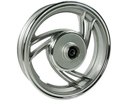 2EXTREME-Cerchione anteriore freno a disco da 10pollici 3razze Stella alluminio per Baotian BT50QT -9, BT49QT -9, Explorer (a.t.u) City Star