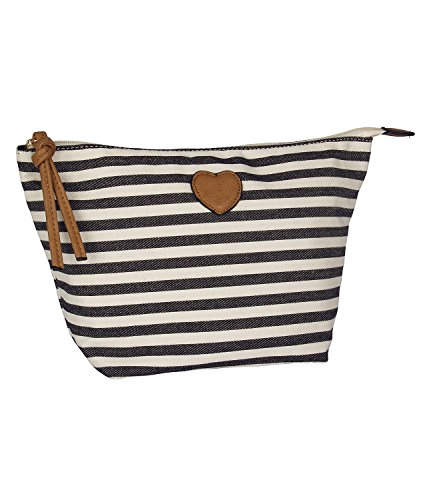 SIX Muttertagsgeschenk Tasche, große Damen Kosmetik-Tasche, aus Canvas, schwarz-weiß, gestreift (129-660)