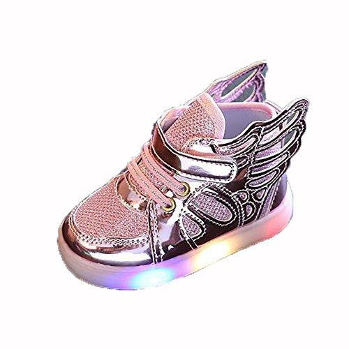 hibote Jungen Mädchen Light Up Schuhe Prewalker Engels Flügel Solf Turnschuhe Rosa EU 26