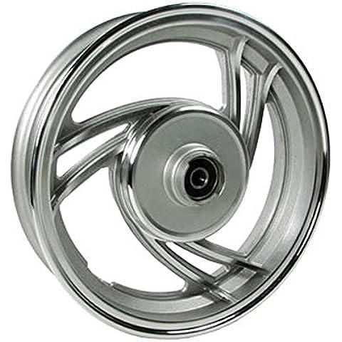 2EXTREME–Cerchione anteriore freno a disco da 10pollici 3razze Stella alluminio per Baotian BT50QT -9, BT49QT -9, Explorer (a.t.u) City Star