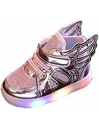 hibote Niño Niña Luz para arriba los zapatos de Prewalker del ala del ángel Solf las zapatillas de deporte rosado EU 25