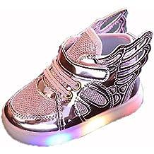 hibote Niño Niña Luz para arriba los zapatos de Prewalker del ala del ángel Solf las zapatillas de deporte rosado EU 22