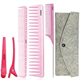 xnicx rose coiffeur coiffure peigne de barbier jusqu'à 180 ℃ résistant à la chaleur peigne de coupe peigne démêloir peigne à queue pinces à cheveux