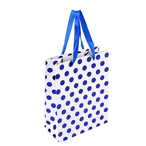 Amosfun 10 stücke Geschenk Papiertüten mit Tupfen Muster Band Griff Geschenk Taschen Einkaufstüten Süßigkeitstaschen für Kinder Geburtstag Hochzeit Party Supplies Gefälligkeiten (Blau)