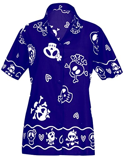 4211af78321 LA LEELA Hawaiian Shirt Blouse Women Short-Sleeved Holiday Vacation Buttons  Casual Work Aloha Azul_W981