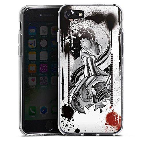 Apple iPhone X Silikon Hülle Case Schutzhülle Tattoo Rock n Roll Style Silikon Case transparent
