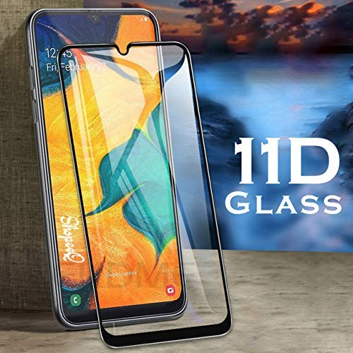 COMORO Premium Tempered Glass For Samsung Galaxy M30S Edge to Edge Protection 9H Hardness Full Glue Cover Friendly Anti Scratch (Black) - Pack Of 1 (11D GLASS)