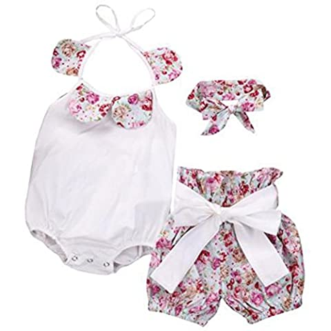 VENMO Newborn Infant Baby Girl Floral Romper Tops Bow Shorts Pants Headband Clothes Set (12-18 Months,