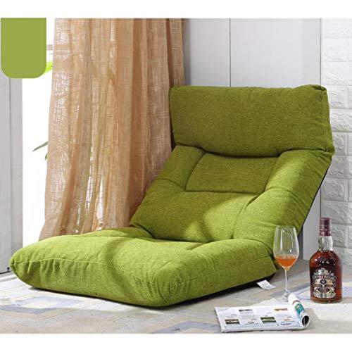 Huahua Furniture Bodenstuhl, Klappbarer Bodenstuhl Verstellbare 14-Position Mit Rückenstütze Meditation Gaming Stuhl für Indoor Kids Adult Rest Recliner (Color : Grass Green)