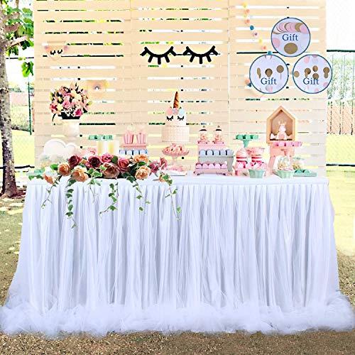 Tischrock Tüll Tischrock Long Tutu Tüll Eleganter Tisch Tischrock Tischdecke für runden Tisch & Rechteck, für Partys, Hochzeit, Baby Shower Dekoration & Dusche (weiß) ()