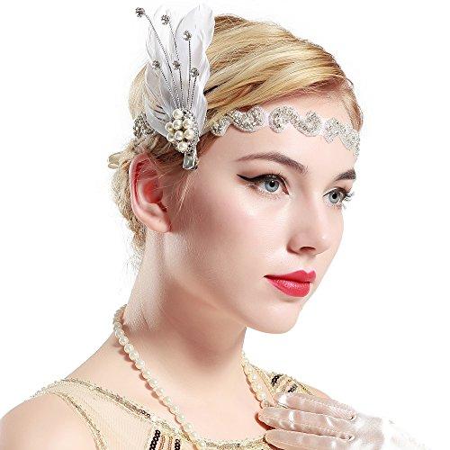 Stirnband 20er Jahre Stil Art Deco Flapper Haarband Great Gatsby Stirnband Damen Kostüm Accessoires (Feder mit Satin Band) (Die Besten Halloween Kostüme In Diesem Jahr)