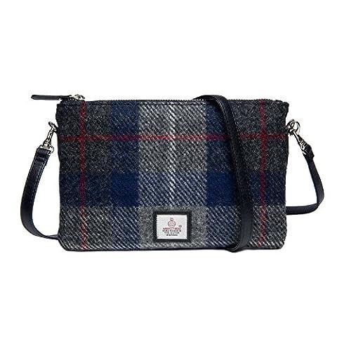 Genuine Harris Tweed Cloudberry Ladies Zip Purse Bag (Blue Check)
