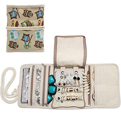 Teamoy Roll para Joyería Organizador de joyas Estuche de viaje para collares, pendientes, pulseras, broches, 3 carpetas, varios departamentos café Búhos
